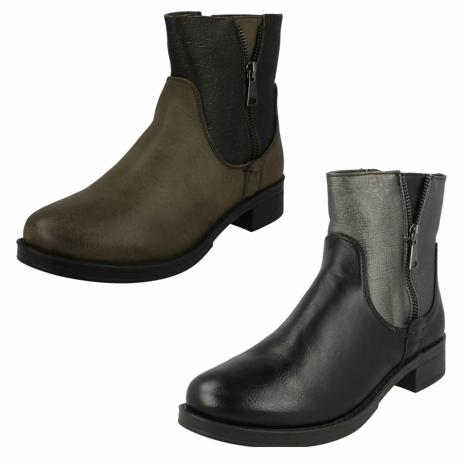 Ladies Black/Brown Spot On Ankle Boots F50704