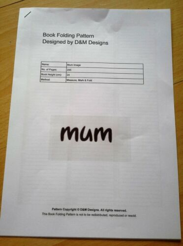 Mark and Fold Mum Book Folding PATTERN ONLY Measure