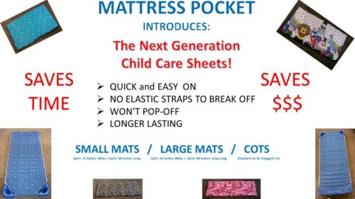Won/'t Pop Off New Style Daycare Sheets for Large Cot No Elastic Straps Qty 25 50