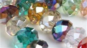 100pc-Mixed-color-Crystal-Quartz-Rondelle-Loose-Beads-6mm