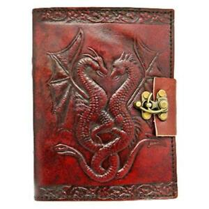 Double Dragon Leather Embossed Journal and Lock - Hand Crafted Notebook