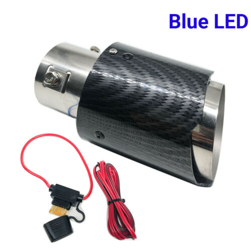 2.5/'/' Inlet Carbon Fiber Stainless Steel Exhaust Muffler Tip Pipe Blue LED Light