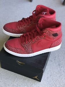 "separation shoes 495b7 5312f Details about Retro Jordan 1 High ""Red Elephant"" Nike Air Print Gym Red Sz  12 OG ALL"