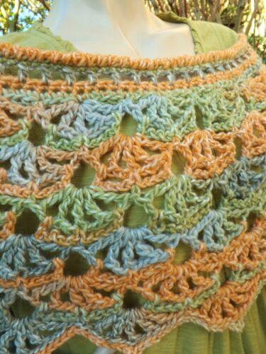 Crochet Wrap Orange 50Yarn Lacy Shoulder Handmade Green Quality Shrug Grey 3L54RAj