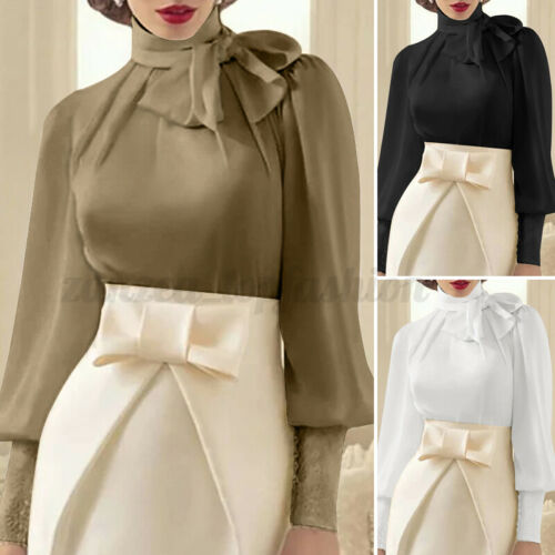 Womens Look Satin Puff Sleeve High Neck Tie Bow Tops OL Party Blouse Tunic Shirt