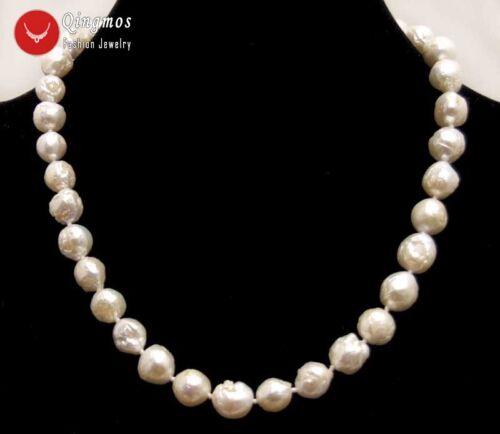 """9-10 mm rond blanc naturel Edison Pearl les colliers collier pour femmes 17/"""" Bijoux"""