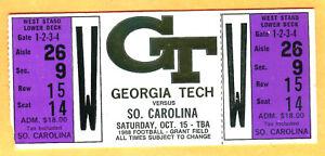 FOOTBALL FULL TICKET! 10/15/88 GEORGIA TECH/SOUTH CAROLINA ...
