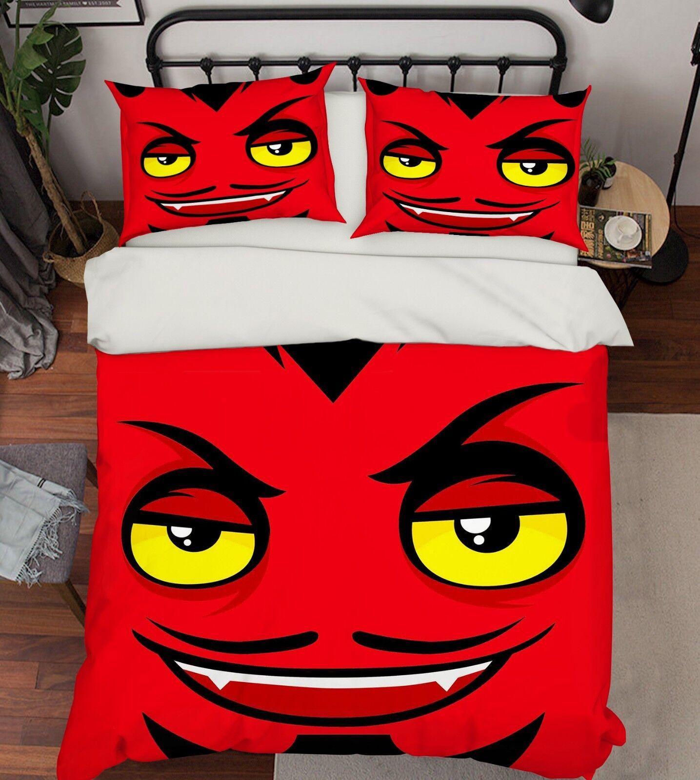 3D Devil Eyes Kid 55 Bed Pillowcases Quilt Duvet Cover Set Single Queen AU Carly