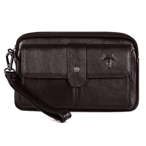Men/'s Leather Handbag Business Wallet Hand strap Clutch Bag Purse