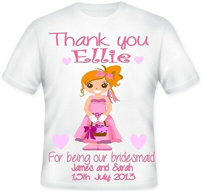 TOP GIRLS Personalised Bridesmaid Flower Girl Gift T Shirt Great Gift Idea