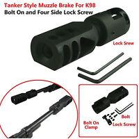 Clamp Bolt On Tanker Muzzle Brake Triangular Baffles For K98 Mauser