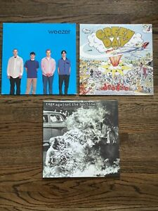 Lot of 3 Essential 90s LPs Green Day Dookie, Weezer S/T Blue & Rage S/T All EX!