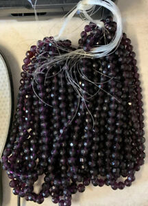 5 Strands 40 Beads Str 200 Beads 10mm Smokey Crystal Glass Beads As Pictured