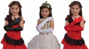 BLACK WHITE LONG OPERA SATIN GLOVES CHILD 1920S FLAPPER PROM GIRLS ELBOW GLOVES