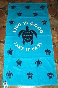 """LIFE IS GOOD """"TAKE IT EASY"""" Beach Towel (36"""" x 70"""") 91 x 178 cm (TURTLES)"""