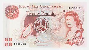 Isle of Man 20 Pounds 2000 P45a GEM UNC Queen Elizabeth Currency Note Prefix D