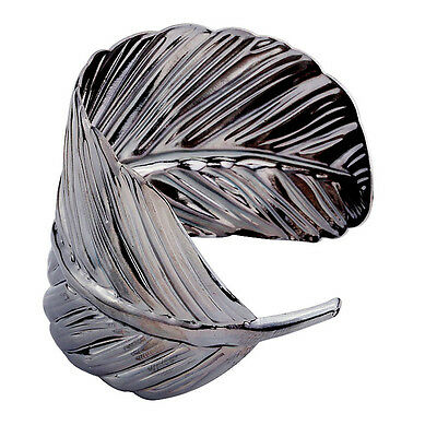 Shiny Jewelry Leaf Bangle Fashion Silver Plated Cuff Bracelet Alloy Jewelry Gift
