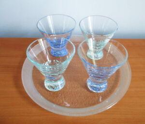 Dansk-Spa-Liqueur-Cordial-Set-Tray-4-Glasses-Blue-Green-Spatter-Glass-Labels