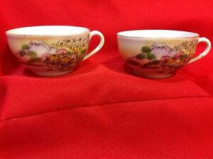 Vintage-Pair-of-Hand-painted-Asian-coffee-tea-cups-NO-saucers