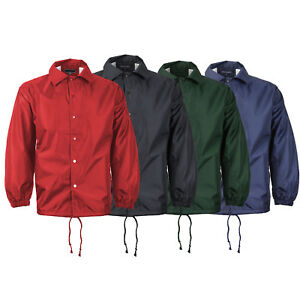 Men's Water Resistant Lightweight Button Up Windbreaker Drawstring Coach Jacket