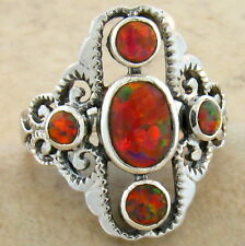 ORANGE LAB OPAL ANTIQUE VICTORIAN DESIGN 925 STERLING SILVER RING SIZE 8,  #649