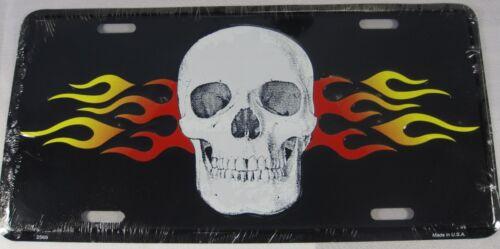 FLAMING SKULL METAL LICENSE PLATE FLAME PIRATE L267