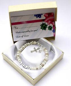 New-baby-child-girl-personalised-christening-holy-communion-bracelet-cross-amp-box