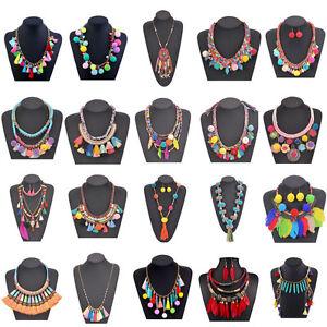 Statement-Ball-Colorful-Pom-Pom-Ethnic-Choker-Tassel-Fashion-Pendant-Necklace