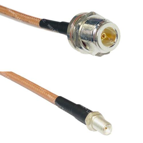 RG142 Silver N FEMALE BULKHEAD to SMA FEMALE Coax RF Cable USA Lot