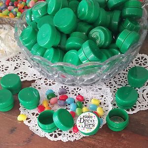 50-Special-Green-Plastic-JARS-Threaded-Lids-1-4oz-1TSP-Container-3301-DecoJars