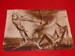 Coll-raoul-jean-moulin-Art-20th-Jan-Vlcek-Cz-Drawing-Ink-Sepia-1969
