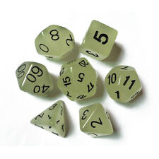 7pc Yellow Glow in the Dark Luminous dice set D&D D20 RPG TSR polyhedral