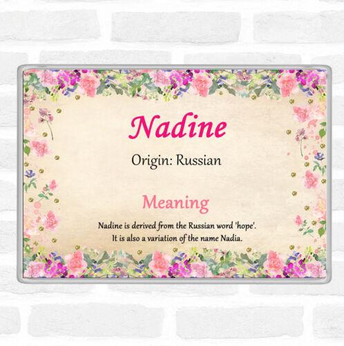 Nadine nom signifiant Jumbo Aimant De Réfrigérateur Motif Floral