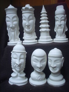 E472 - Ceramic Bisque LARGE Chinese Dinasty Chess Set- Ready to Paint
