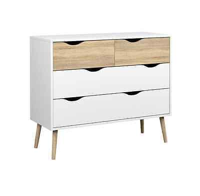 Modern Retro Style 60s 70s Sideboard/Chest of Drawers DELTA 4D white/sonoma oak