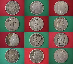 MAKE OFFER $4.00 Face 1964 Kennedy Halves Washington Quarters Junk Silver Coins