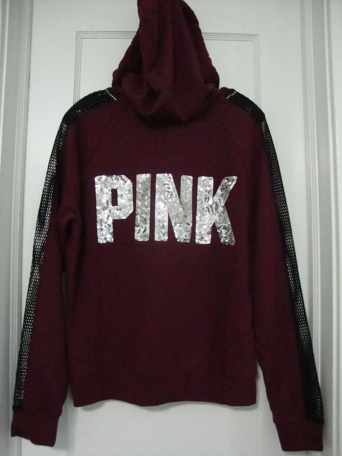 Victorias Secret Rosa Bling Full Zip Hoodie with Mesh Sleeves Maroon rot M NWT