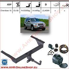 Gancio traino fisso Jeep Cherokee KJ 2001-2007 + kit elettrico 13-poli