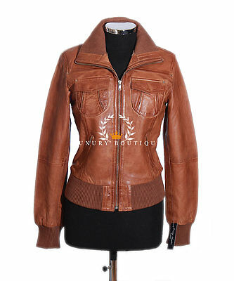Lopez Ladies Tan Women's Smart Casual Real Lambskin Bomber Leather Jacket