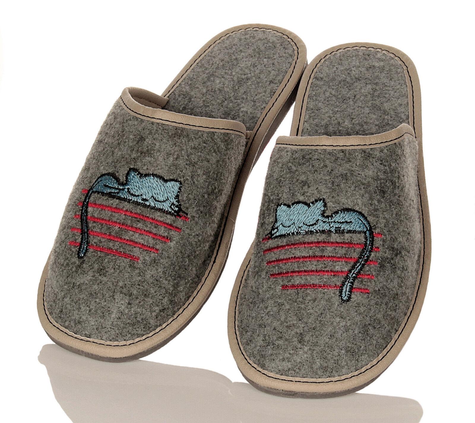 Damen Filz HausSchuhe Pantoffeln Pantoletten mit Katzengesicht Gr. 36 - 41 NEU
