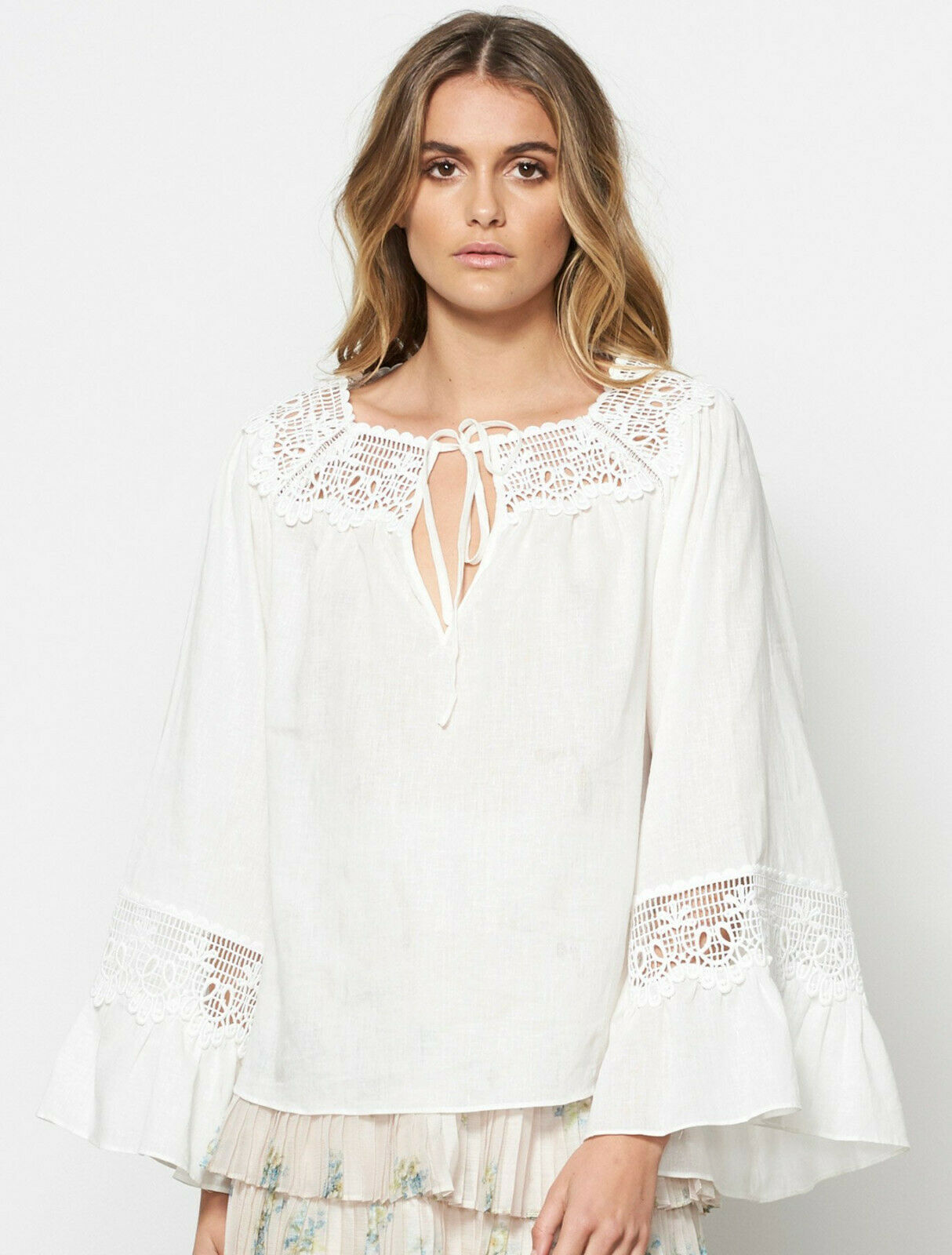 STEVIE MAY NWT  M Off Weiß EUPHORIA Lace Bell Sleeve Linen Cotton Blouse