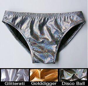Silver Hologram Men\u2019s String Slide Thong Swimsuit