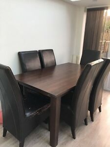 details about solid dark wood extending dining table with 6 chairs