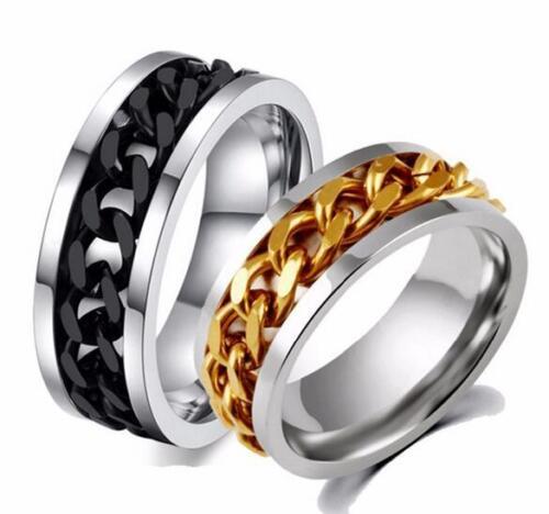 100PCS or argent noir Spin chaîne bagues en acier inoxydable Hommes Femmes En Gros