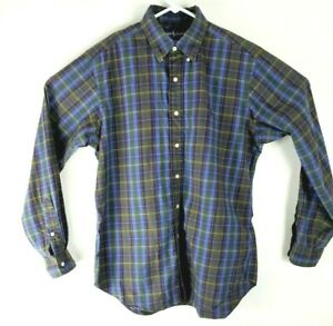 RALPH-LAUREN-POLO-LONG-SLEEVE-SHIRT-CLASSIC-FIT-GREEN-BLUE-TARTAN-PLAID-MENS-m
