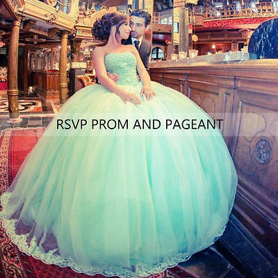 Mint Green Quinceanera Dresses Sweet 16 Tulle Prom Birthday Evening Ball Gown