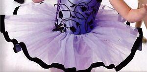 NWOT-Periwinkle-Blue-Ballet-Tutu-Black-ribbonedging-graduated-5-tier-net-organdy