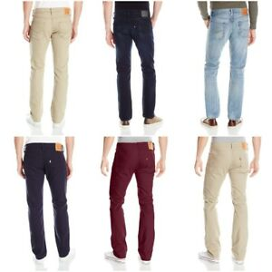 NEW-MENS-LEVIS-513-SLIM-STRAIGHT-FIT-ZIPPER-FLY-JEANS-PANTS-BURGUNDY-BLUE-BEIGE