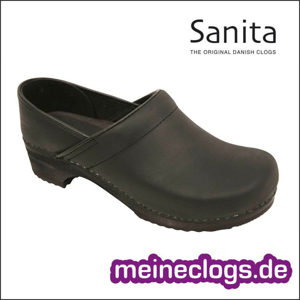 Sanita Clogs Wood Julie Closed  Schwarz Gr. 37-42 Ölleder Clog Damenschuh