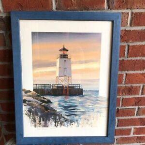 Charlevoix Michigan Lighthouse Print Framed Artist Luke Buck